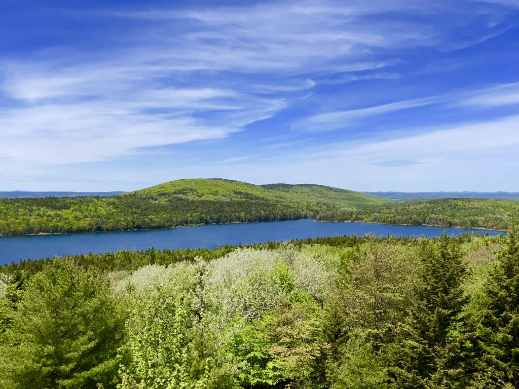 Beautiful overlook of Jordan Pond in Acadia National Park