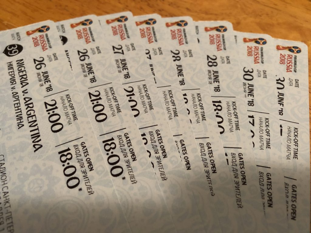 Tickets for 4 of my 5 World Cup Russia 2018 games