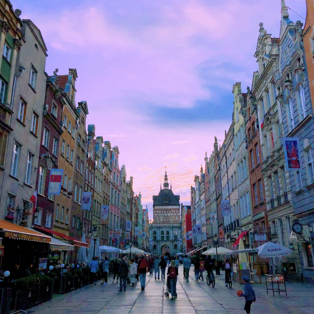 The lovely main street of the old town in Gdansk, Poland