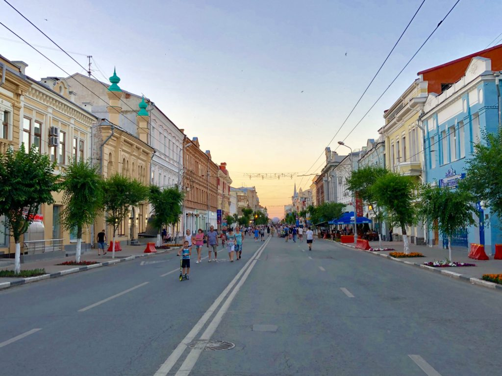 The main street in the old town of Samara at sunset
