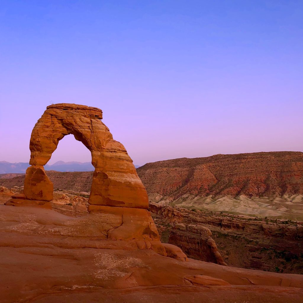 Delicate Arch at sunset in Moab, Utah inside Arches National Park
