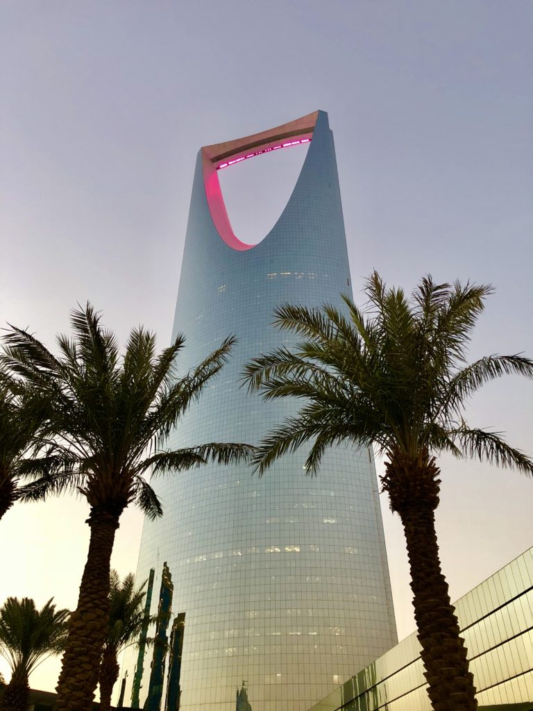 The Kingdom Tower at dusk is the most recognizable building in Riyadh