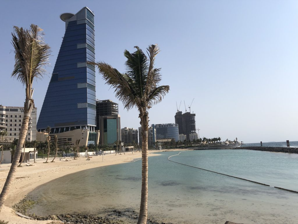 The beaches and hotels along the Corniche in Jeddah
