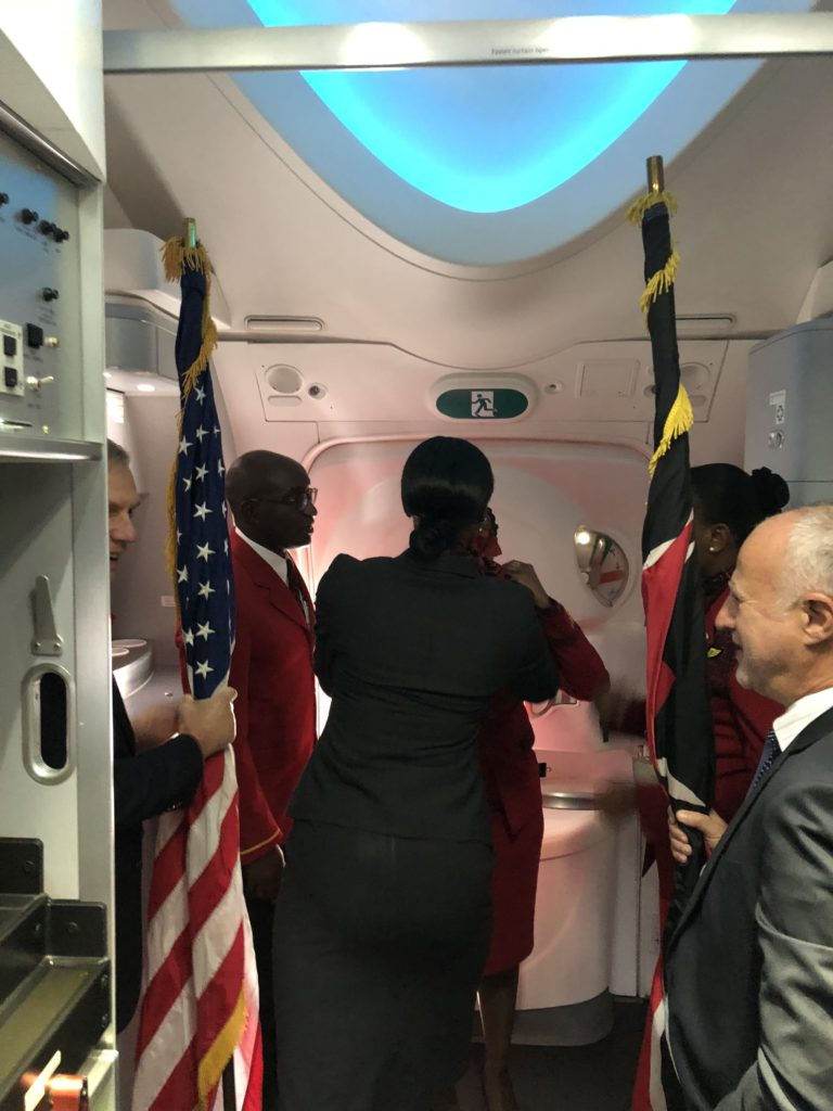 The US Ambassador on the left and the Chairman of Kenya Airways on the right