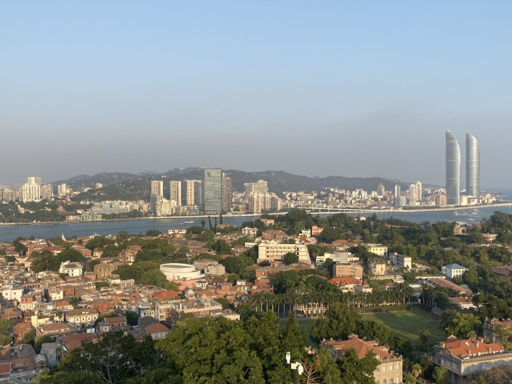 Xiamen, Skyline view of Xiamen China from Gulangyu Island, Gulangyu, China, One day in Xiamen